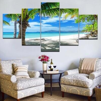 Maldives Islands Palm Tree Ocean Poster - 5 Panel Canvas Print Wall Art Set