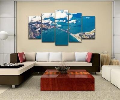Alpine Blue Ocean Landscape - 5 Panel Canvas Print Wall Art Set