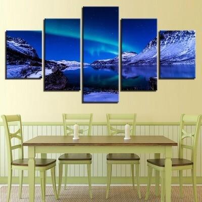 Aurora Borealis Iceberg Ocean Landscape - 5 Panel Canvas Print Wall Art Set