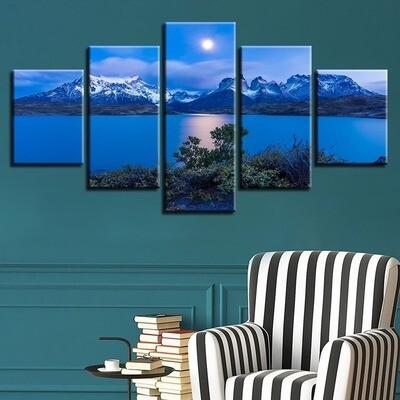 Landscape Sea Beach Ocean Sunrise Lighthouse Tropical - 5 Panel Canvas Print Wall Art Set