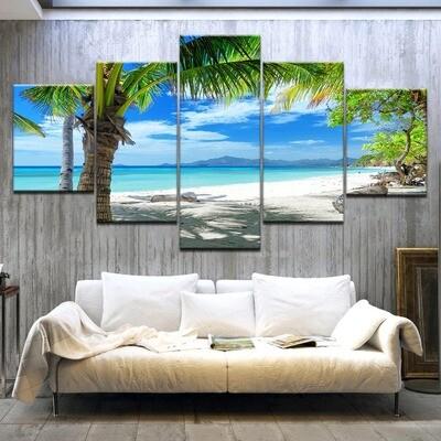 Maldives Islands Palm Tree Ocean - 5 Panel Canvas Print Wall Art Set