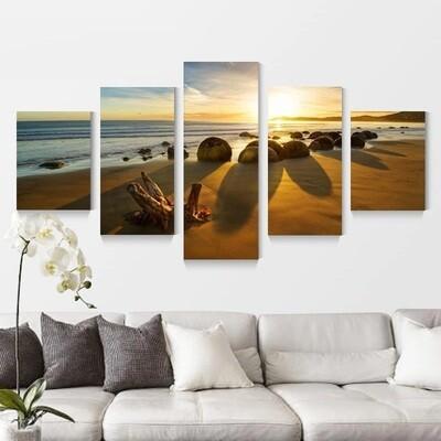 Ocean Beach Seascape - 5 Panel Canvas Print Wall Art Set
