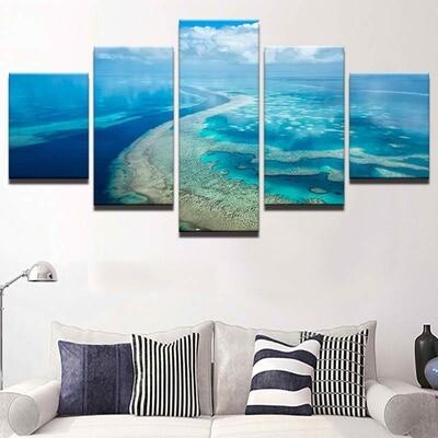 Blue Sky Ocean Clouds Wave Seascape - 5 Panel Canvas Print Wall Art Set