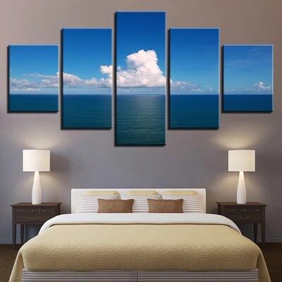 Clean White Cloud Blue Sky Cruise Clam Ocean Sea - 5 Panel Canvas Print Wall Art Set