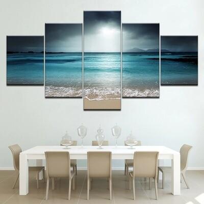 Fashion Beach Ocean Sea - 5 Panel Canvas Print Wall Art Set
