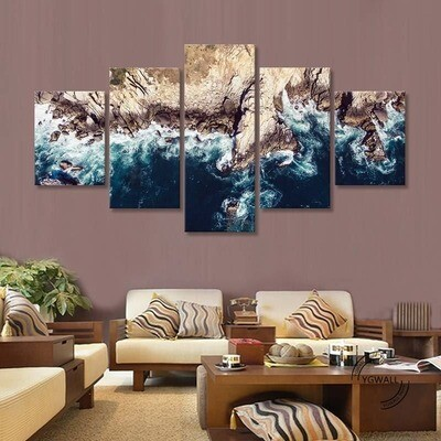 Island Coast Blue Ocean - 5 Panel Canvas Print Wall Art Set
