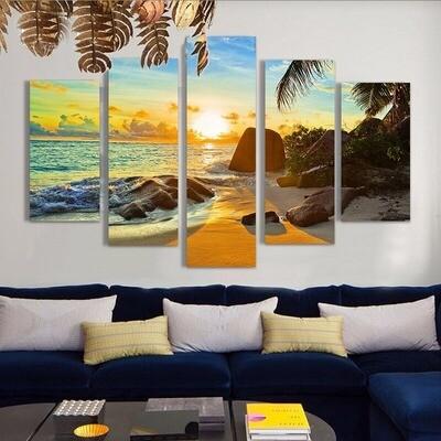 Ocean Beach Sunset Seascape Landscape - 5 Panel Canvas Print Wall Art Set