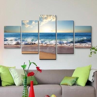 Ocean Sea - 5 Panel Canvas Print Wall Art Set