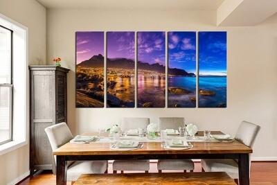 Ocean Sea Landscape - 5 Panel Canvas Print Wall Art Set