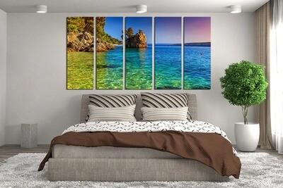 Ocean Sea Photography - 5 Panel Canvas Print Wall Art Set