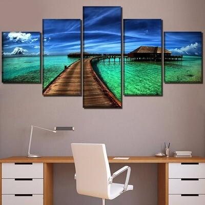 Ocean Sky Tropical Poster - 5 Panel Canvas Print Wall Art Set