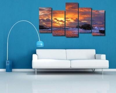 Ocean Wave Blue Sea Sky - 5 Panel Canvas Print Wall Art Set