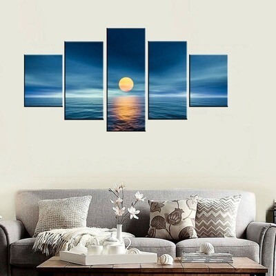 Oversize Blue Sea Sunset - 5 Panel Canvas Print Wall Art Set