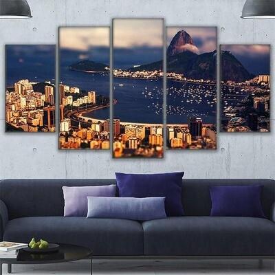 Rio De Janeiro Mountain View Of The Atlantic Ocean - 5 Panel Canvas Print Wall Art Set