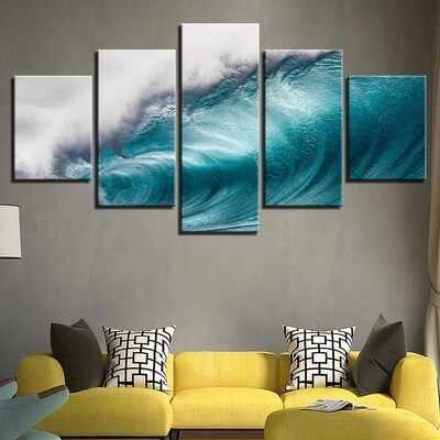 Rolling Waves Ocean Sea Wave Seascape - 5 Panel Canvas Print Wall Art Set