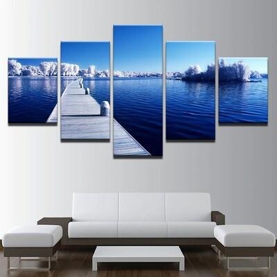 Snow Trees Forest Long Bridge - 5 Panel Canvas Print Wall Art Set
