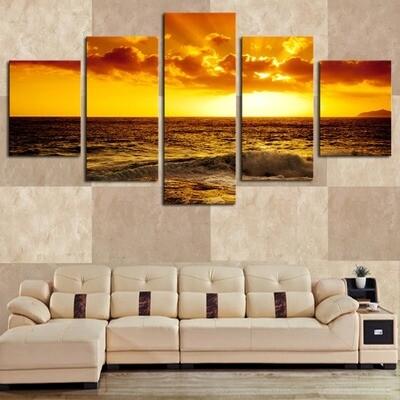 Sun Ocean Seascape - 5 Panel Canvas Print Wall Art Set