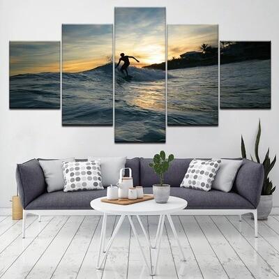 Sunset Sea View Ocean Surf Sports - 5 Panel Canvas Print Wall Art Set