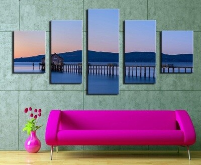 Ocean Bridge Scenery - 5 Panel Canvas Print Wall Art Set