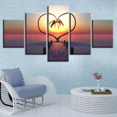 Ocean Hearts Tree - 5 Panel Canvas Print Wall Art Set