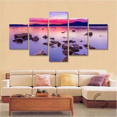 Ocean Sunset - 5 Panel Canvas Print Wall Art Set
