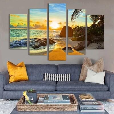 Ocean Sunset Beach Seascape - 5 Panel Canvas Print Wall Art Set