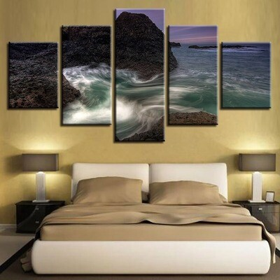 Rushing Sea Wavepaintings Ocean Dusk Seascapes - 5 Panel Canvas Print Wall Art Set