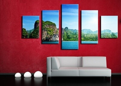 Thailand Ocean Landscape Rocks Sky - 5 Panel Canvas Print Wall Art Set