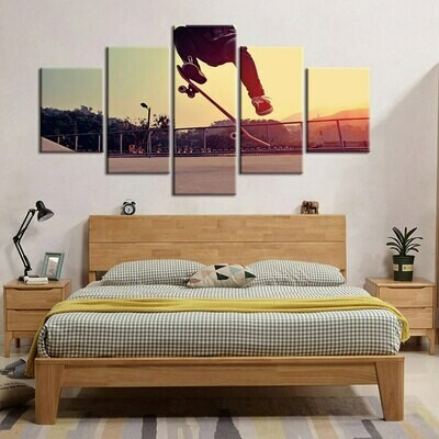 Skateboard At Dawn - 5 Panel Canvas Print Wall Art Set