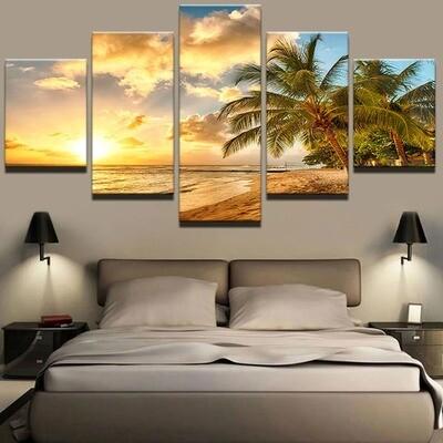 Palm Trees Sea Sunset Landscape - 5 Panel Canvas Print Wall Art Set