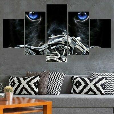 Motorcycle Cat Blue Eye - 5 Panel Canvas Print Wall Art Set
