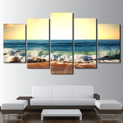 Sea Level Ocean Beach Seascape - 5 Panel Canvas Print Wall Art Set