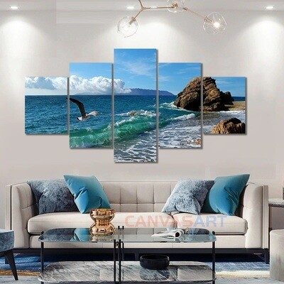 Seagull Ocean Wave Sea Beach Landscape - 5 Panel Canvas Print Wall Art Set