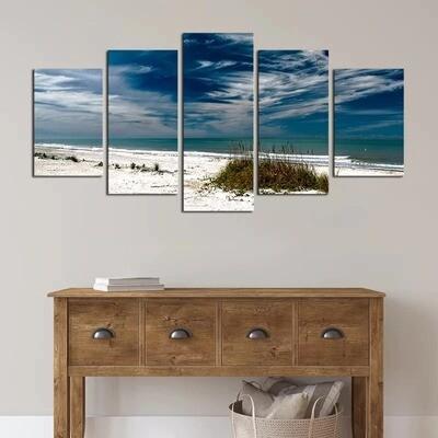 Sky Cloud Silence Ocean - 5 Panel Canvas Print Wall Art Set