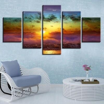 Sunrise Beautiful Ocean Waves Seascape - 5 Panel Canvas Print Wall Art Set