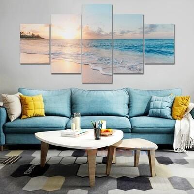 Sunrise Ocean Wave Sea Beach Landscape - 5 Panel Canvas Print Wall Art Set