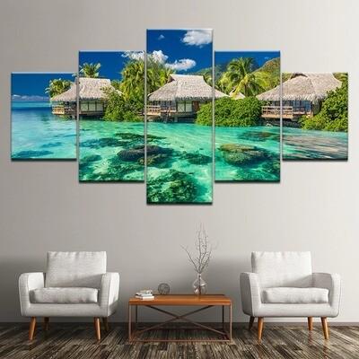 The Ocean Landscape - 5 Panel Canvas Print Wall Art Set