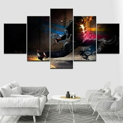 Abstract Skateboard - 5 Panel Canvas Print Wall Art Set