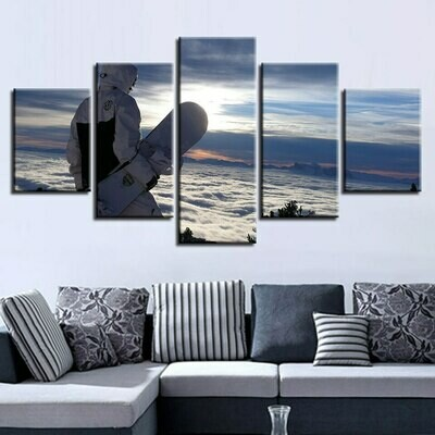 Cold Skateboard - 5 Panel Canvas Print Wall Art Set