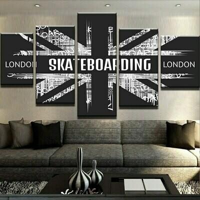 London Skateboarding - 5 Panel Canvas Print Wall Art Set