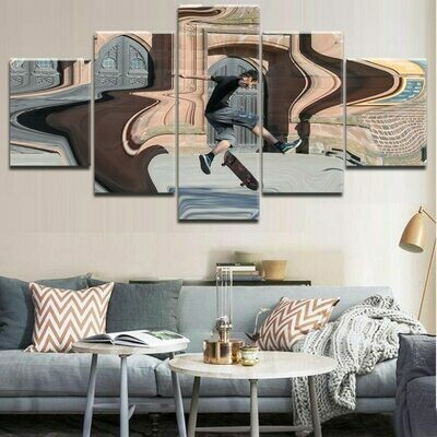 Modular Skateboarding - 5 Panel Canvas Print Wall Art Set