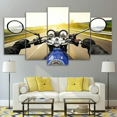 Motorcycle Driving - 5 Panel Canvas Print Wall Art Set