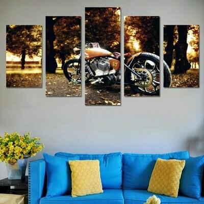 Motorcycle Fallen Leaves - 5 Panel Canvas Print Wall Art Set
