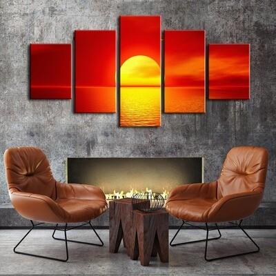 Ocean Sunset Oil - 5 Panel Canvas Print Wall Art Set