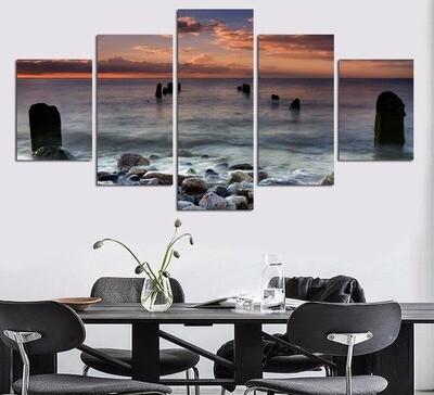 Ocean View - 5 Panel Canvas Print Wall Art Set