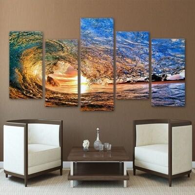 Ocean Wave - 5 Panel Canvas Print Wall Art Set