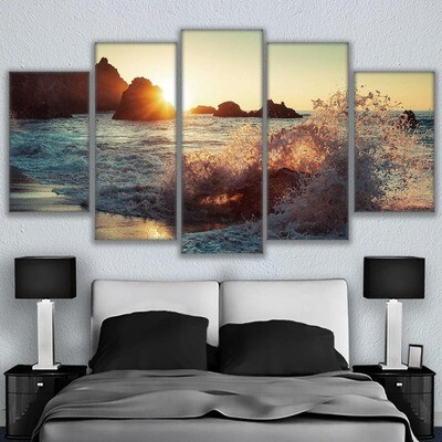Ocean Waves - 5 Panel Canvas Print Wall Art Set