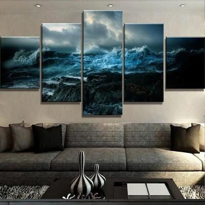 Oceans Wrath - 5 Panel Canvas Print Wall Art Set