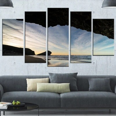 Rock Beach Ocean Sky - 5 Panel Canvas Print Wall Art Set