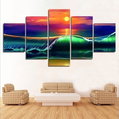 Sea Wave Ocean - 5 Panel Canvas Print Wall Art Set